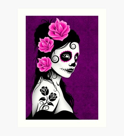 Purple Day of the Dead Sugar Skull Girl Art Print