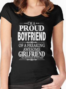 I'm A Proud Boyfriend Of A Freaking Awesome Girlfriend Women's Fitted Scoop T-Shirt