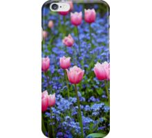 Pink Tulips in Blue iPhone Case/Skin