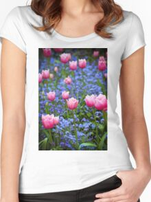 Pink Tulips in Blue Women's Fitted Scoop T-Shirt