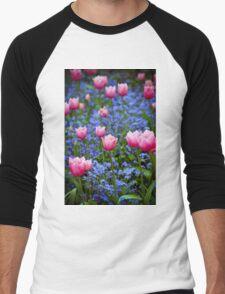 Pink Tulips in Blue Men's Baseball ¾ T-Shirt