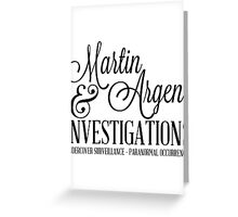 Martin & Argent Investigations Greeting Card