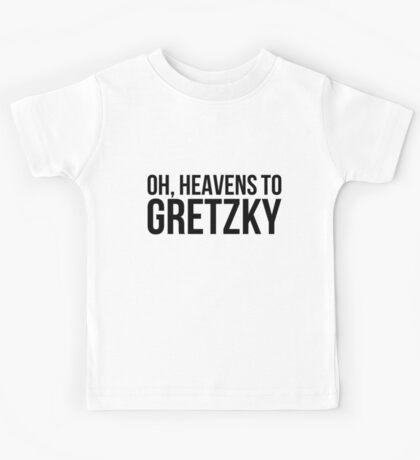Heavens to Gretzky (black text) Kids Tee