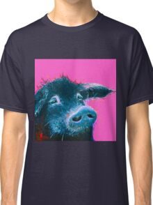 Black pig painting on hot pink Classic T-Shirt