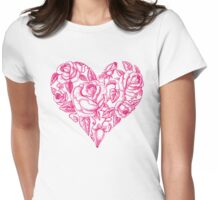 Pink Rose Heart Womens Fitted T-Shirt