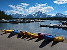 Red, Yellow and Blue Canoes on Shore by Lucinda Walter