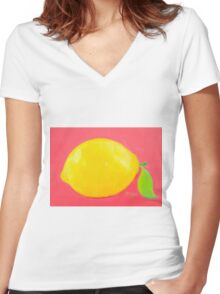Lemon Painting Women's Fitted V-Neck T-Shirt