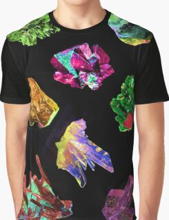 Colourful Crystal Pattern black background Graphic T-Shirt
