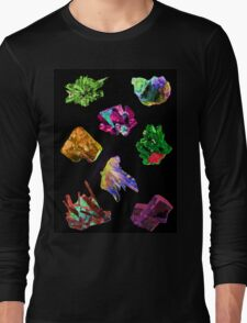 Colourful Crystal Pattern black background Long Sleeve T-Shirt