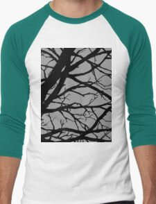 Silver Grey Tree Men's Baseball ¾ T-Shirt