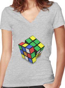 Rubik's Cube Women's Fitted V-Neck T-Shirt