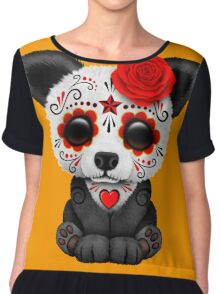 Red Day of the Dead Sugar Skull Panda on Yellow Chiffon Top
