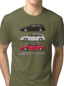 Stack of Volvo 480 Turbos Tri-blend T-Shirt
