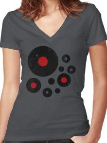 Vintage Vinyl Records Music DJ inspired design Women's Fitted V-Neck T-Shirt