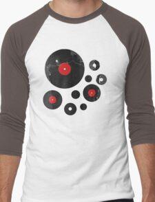 Vintage Vinyl Records Music DJ inspired design Men's Baseball ¾ T-Shirt