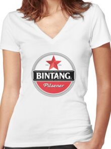 Bintang beer Women's Fitted V-Neck T-Shirt