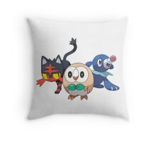 Pokemon Alola Starters Rowlet Littin Popplio Throw Pillow