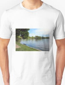 Natural background, trees and vegetation by the lake. T-Shirt