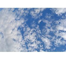 Blue sky with fluffy rare white clouds. Photographic Print