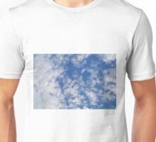 Blue sky with fluffy rare white clouds. Unisex T-Shirt