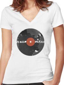 Vinyl Records Lover - Grunge Vinyl Record Women's Fitted V-Neck T-Shirt