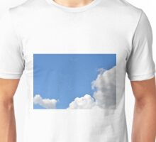 Blue sky with fluffy white clouds. Unisex T-Shirt
