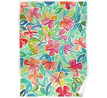 Tropical Floral Watercolor Painting Poster