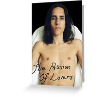 "Black Etched ""The Passion Of Lovers"" Shirtless Male Greeting Card"