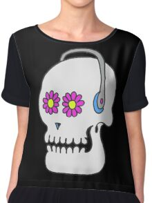 Flower Love Skull Chiffon Top