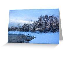 Snowy Beach Impressions Greeting Card