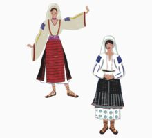 Muntenia and a Mehedinti  Romanian Female, Old Fashioned Peasant Costumes Kids Tee