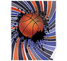 Basketball Ball on Rays Background 2 Poster