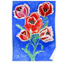Poppies Bouquet Painting Poster