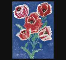 Poppies Bouquet Painting Kids Tee