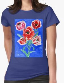 Poppies Bouquet Painting Womens Fitted T-Shirt