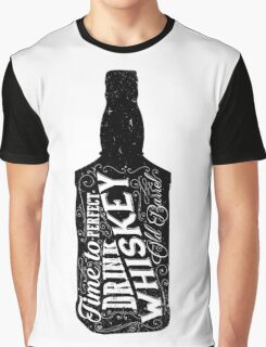 Whiskey bottle retro old vintage design illustration. Chalkboard poster typographic grunge label vector. Handwritten time to drink. Black bottle. Graphic T-Shirt