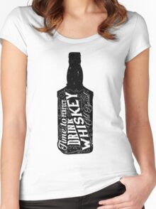 Whiskey bottle retro old vintage design illustration. Chalkboard poster typographic grunge label vector. Handwritten time to drink. Black bottle. Women's Fitted Scoop T-Shirt