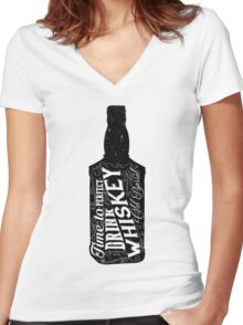 Whiskey bottle retro old vintage design illustration. Chalkboard poster typographic grunge label vector. Handwritten time to drink. Black bottle. Women's Fitted V-Neck T-Shirt