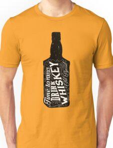 Whiskey bottle retro old vintage design illustration. Chalkboard poster typographic grunge label vector. Handwritten time to drink. Black bottle. Unisex T-Shirt