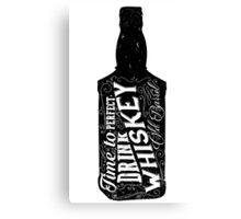 Whiskey bottle retro old vintage design illustration. Chalkboard poster typographic grunge label vector. Handwritten time to drink. Black bottle. Canvas Print
