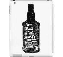 Whiskey bottle retro old vintage design illustration. Chalkboard poster typographic grunge label vector. Handwritten time to drink. Black bottle. iPad Case/Skin