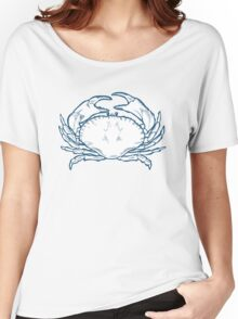 Crab seafood nature ocean aquatic underwater vector. Hand drawn marine engraving illustration on white background Women's Relaxed Fit T-Shirt