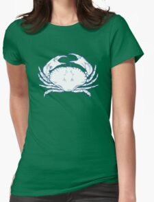 Crab seafood nature ocean aquatic underwater vector. Hand drawn marine engraving illustration on white background Womens Fitted T-Shirt