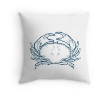 Crab seafood nature ocean aquatic underwater vector. Hand drawn marine engraving illustration on white background Throw Pillow