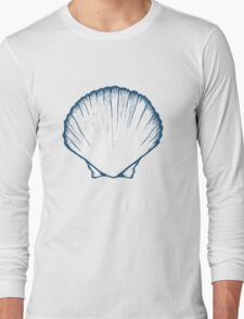 Seashell, sea shell, nature ocean aquatic underwater vector. Hand drawn marine engraving illustration on white background Long Sleeve T-Shirt