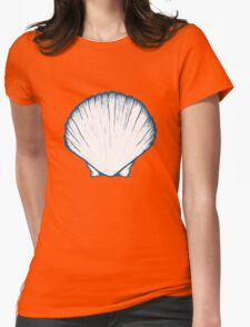 Seashell, sea shell, nature ocean aquatic underwater vector. Hand drawn marine engraving illustration on white background Womens Fitted T-Shirt