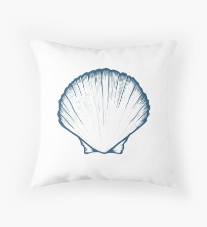 Seashell, sea shell, nature ocean aquatic underwater vector. Hand drawn marine engraving illustration on white background Throw Pillow