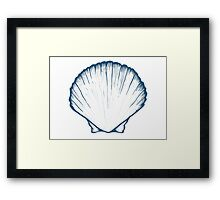 Seashell, sea shell, nature ocean aquatic underwater vector. Hand drawn marine engraving illustration on white background Framed Print