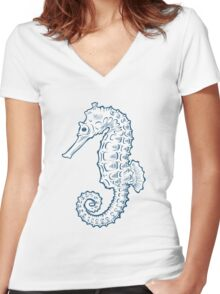 Seahorse sea horse nature ocean aquatic underwater vector. Hand drawn marine engraving illustration on white background Women's Fitted V-Neck T-Shirt