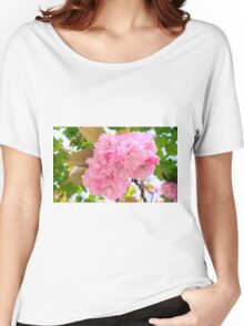 Pink Double Cherry Blossoms Women's Relaxed Fit T-Shirt